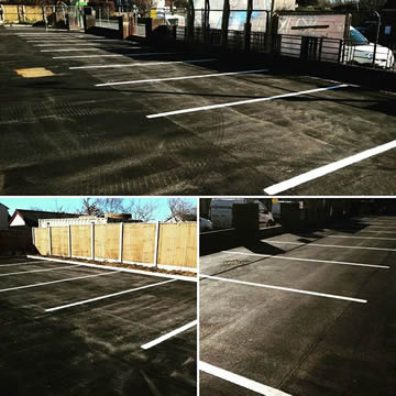 Line marking to a new tarmac surface for a church in Preston