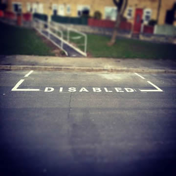 Road Marking Disabled Bays in Buxton